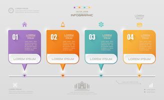 Modelo de design de infográficos com ícones, diagrama de processo, ilustração em vetor eps10