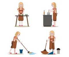 Empregadas domésticas e conjunto de trabalho de limpeza