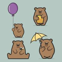 Set of cute  brown bear  flat style