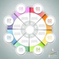 Design circle infographic 8 options,  Business concept infographic template can be used for workflow layout, diagram, number options, timeline or milestones project.