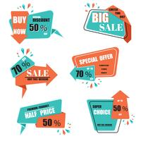 Modern origami sale label and tags vector collection