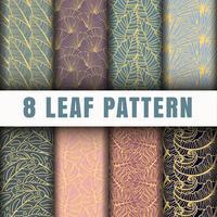 Colección de fondo de patrón de contorno de 8 hojas