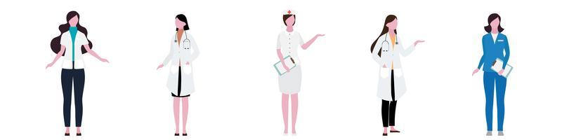 Platt karaktär av sjukhus kvinnor personaluppsättning