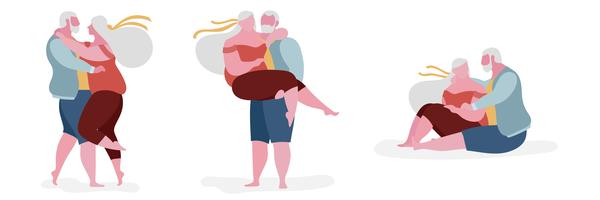 Ilustración de personaje gordo de pareja senior