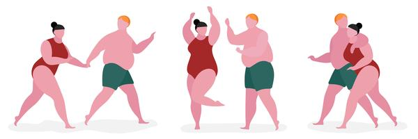 Couple fat character illustration