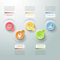 Il modello di infografica del concetto di business può essere utilizzato per il layout del flusso di lavoro, diagramma, opzioni numeriche, cronologia o progetto di pietre miliari.