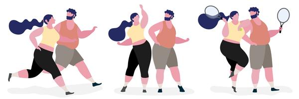 Casal, gorda, personagem, ilustração