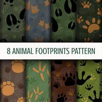 8 Animal Footprints pattern background set collection