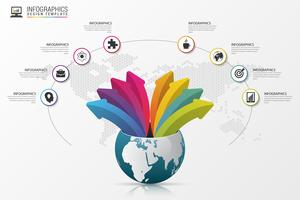 Infographic design template. World with arrows. Vector