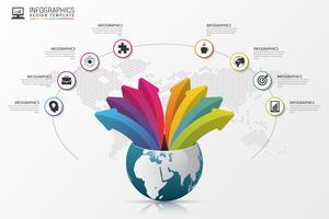 Infographic designmall. Värld med pilar. Vektor