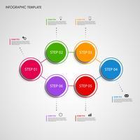 Graphique d'informations avec modèle de pointeur rond design coloré