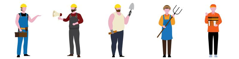 Flat Character of General contractor set