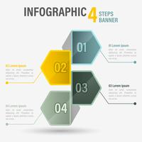 Infographic Four Steps With Hexagonal Elements.