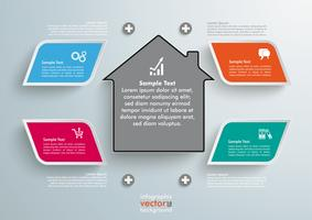 4 Colored Bevel Rectangles House Infographic