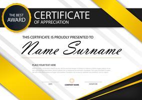 Horizontales Zertifikat der gelben Eleganz mit Vektorillustration, weiße Rahmenzertifikatschablone mit sauberer und moderner Musterdarstellung