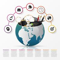 Infographic designmall. Kreativ värld. Vektor