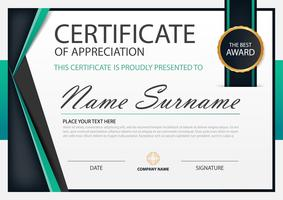 Green Elegance horizontal certificate with Vector illustration ,white frame certificate template with clean and modern pattern presentation