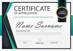 Horizontales Zertifikat der grünen Eleganz mit Vektorillustration, weiße Rahmenzertifikatschablone mit sauberer und moderner Musterdarstellung