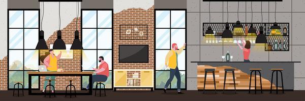 Modernt kaféinredning i loftstil med full kund