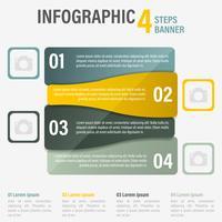 Infografía cuatro pasos vector banner. Parte 10.