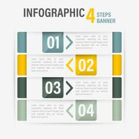 Info-graphic four steps vector horizontal banner. Part 53.