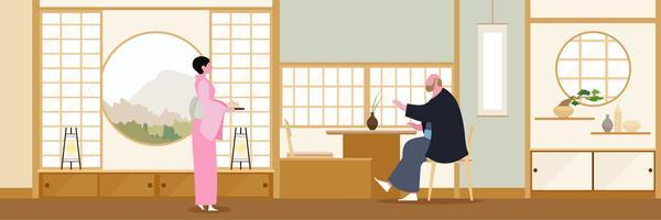 Diseño plano de sala de estar Zen de Japón