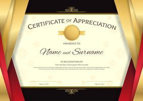 Plantilla de certificado de lujo con elegante marco de borde rojo y dorado, sobre fondo tailandés, diseño de diploma para graduación o finalización