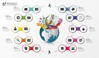 Modèle de conception infographique. Concept de monde créatif. Vecteur
