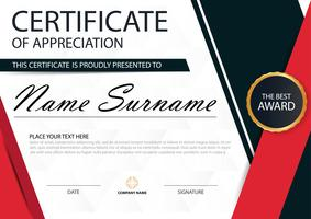 Red black Elegance horizontal certificate