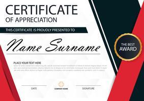 Certificat horizontal d'élégance rouge noir
