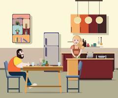 Hustrun förbereder matlagning till sin man. Platt design.