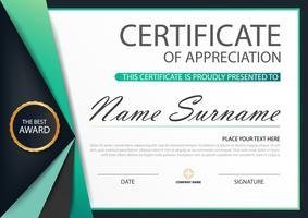 Etichetta verde Certificato orizzontale Elegance