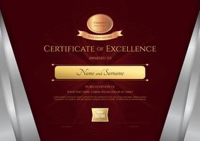 Plantilla de certificado de lujo con elegante marco de borde plateado, diseño de diploma para graduación o finalización