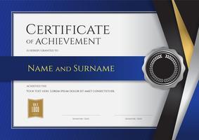 Plantilla de certificado de lujo con elegante marco de borde dorado, diseño de diploma para graduación o finalización