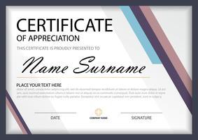 Certificado horizontal de elegancia azul púrpura