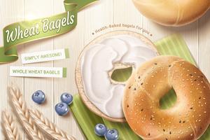 Läckra vete bagel annonser