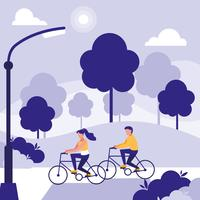 couple in park riding bikes avatar character vector