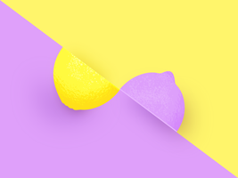 Two Halves Lemon Pop Color Background