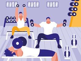hombres jóvenes en el gimnasio levantando pesas vector