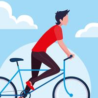 young man riding bike vector