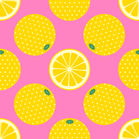 Yellow Citrus Fruit Pop Art Pattern
