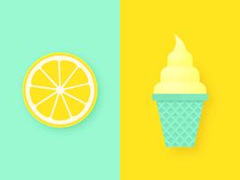 Zitronenscheibe und Eiscreme-Knall-Hintergrund