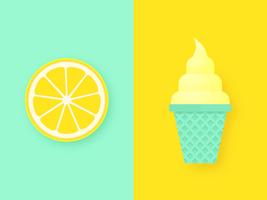 Lemon Slice And Ice Cream Pop Background vector