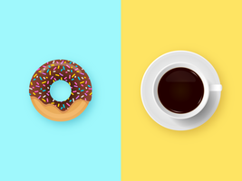 Chocolate Donut and Coffee Breakfast vector