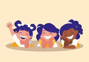 söta små flickor glad avatar karaktär