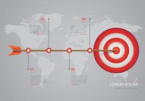 Linha do tempo na infografia de etapas de alvo