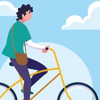 young man riding bike with sky and clouds vector