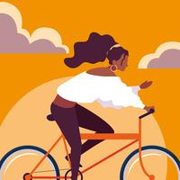 mujer joven, equitación, bicicleta, con, cielo, naranja