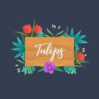 Tulipas florais decorativas com placa de madeira no fundo escuro