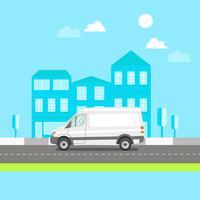 Witte bestelwagen op stadsachtergrond